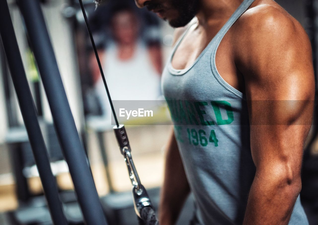 Close-up of man in gym