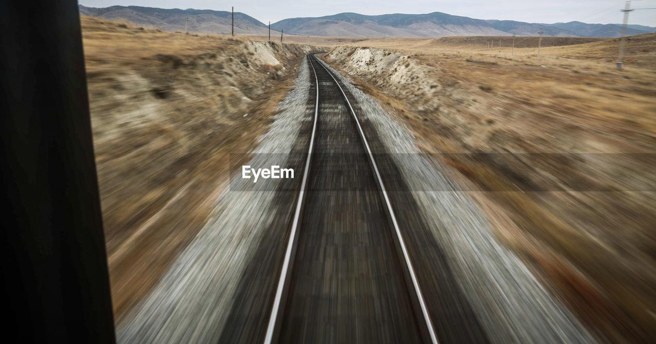 Blurred Motion View Of Railroad Tracks