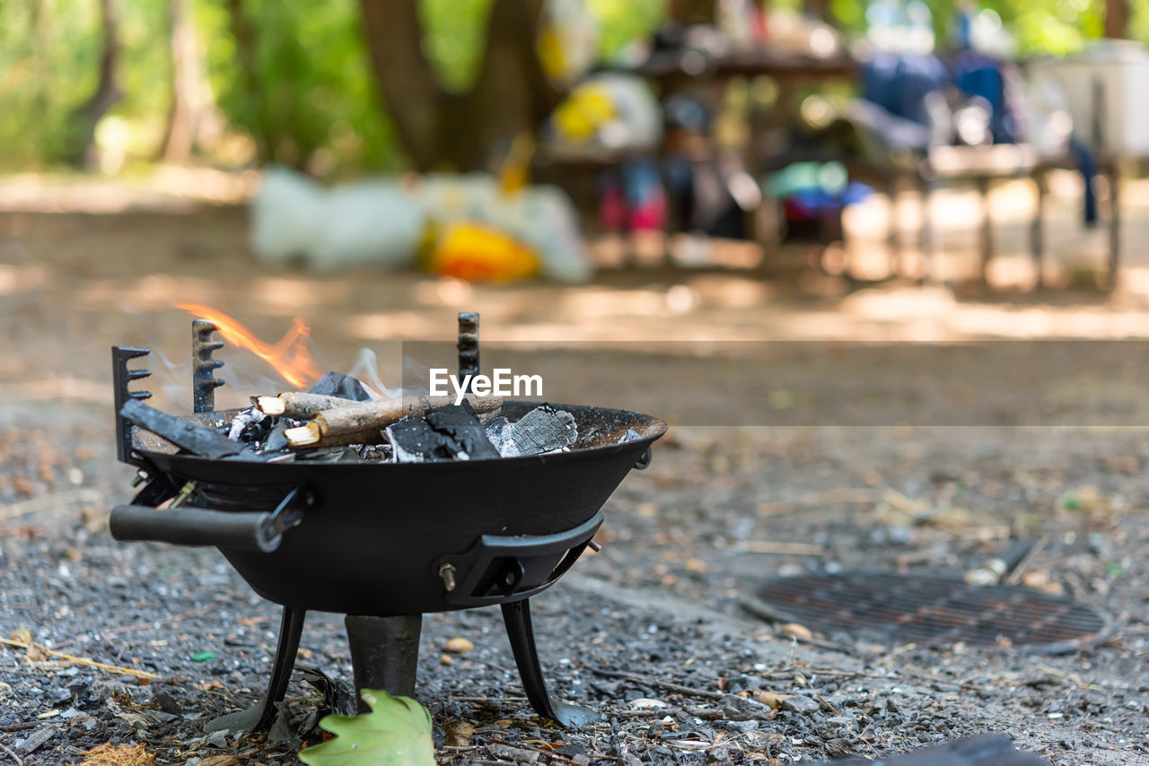 burning, barbecue, food and drink, fire, food, fire - natural phenomenon, focus on foreground, day, nature, flame, barbecue grill, no people, outdoors, heat - temperature, coal, close-up, meat, wood - material, preparation, camping stove