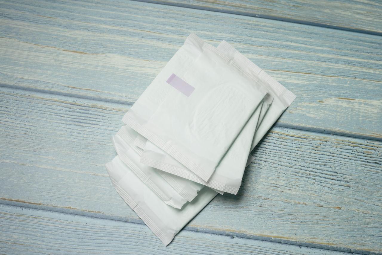 High angle view of sanitary pad on table