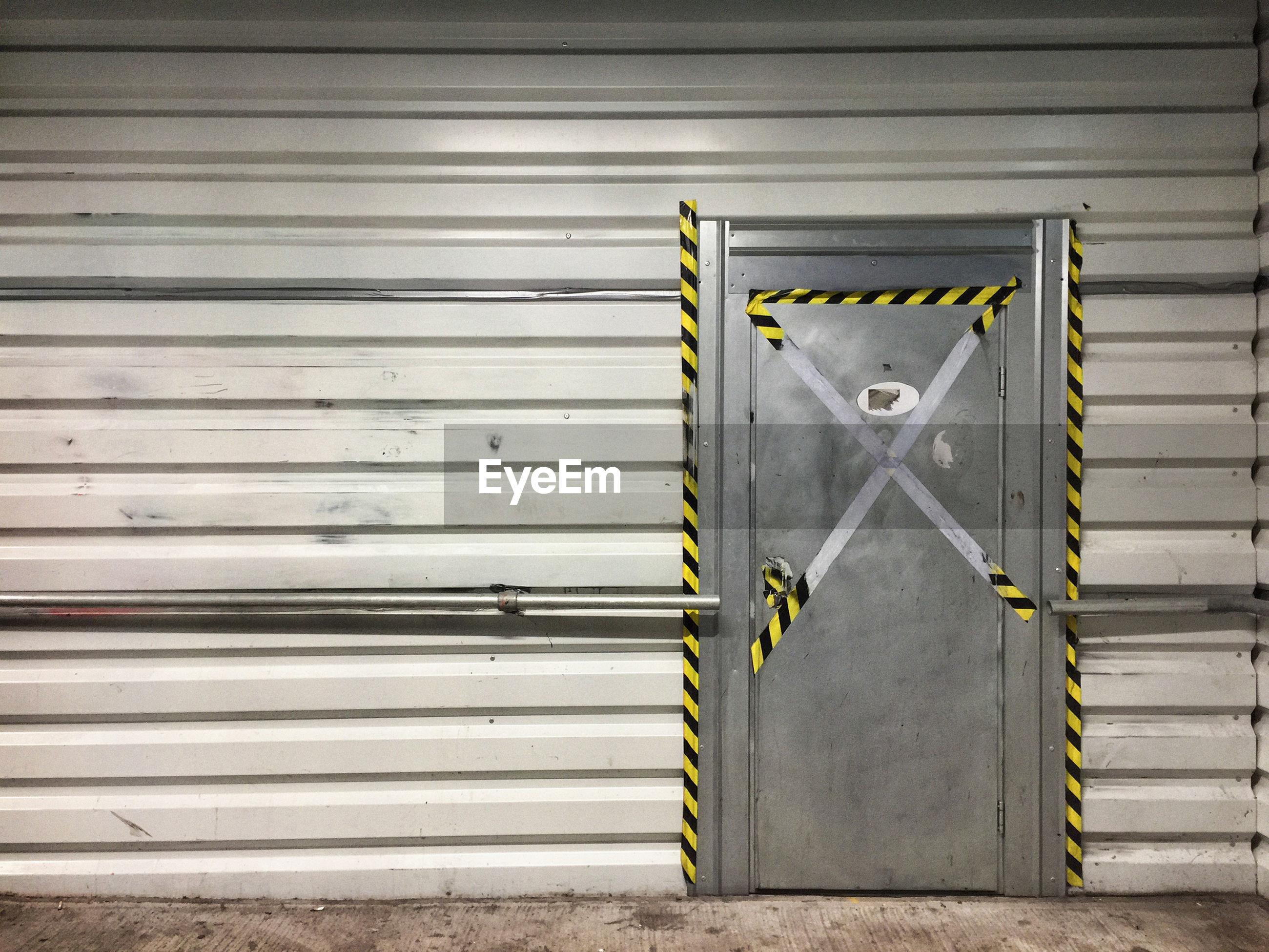 Closed door of garage