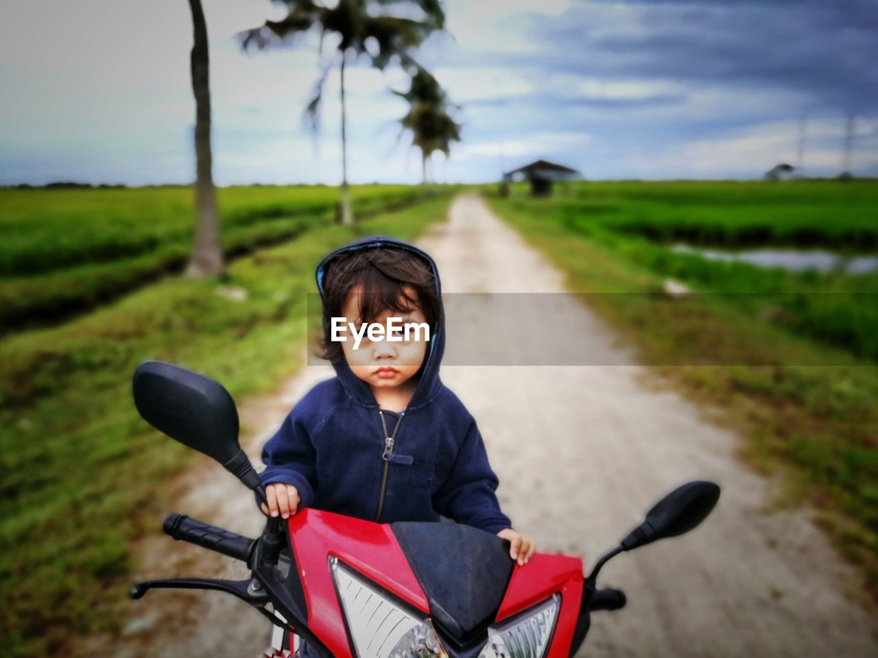 Portrait Of Boy On Motor Scooter At Road Amidst Field