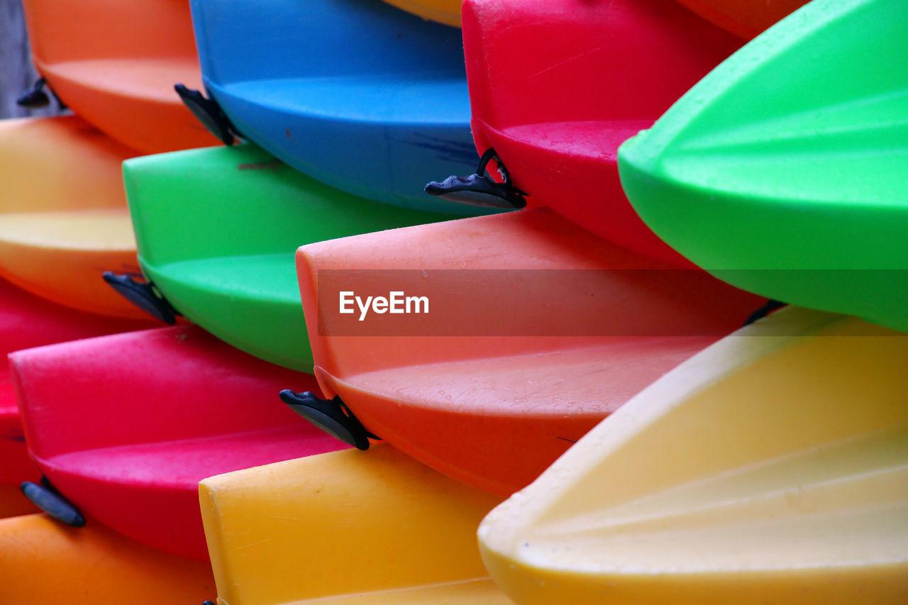 Full frame shot of colorful kayaks
