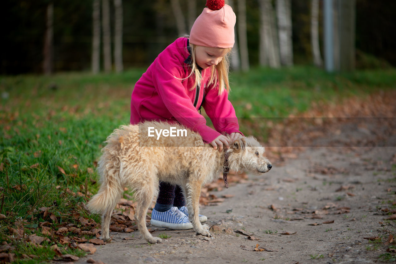 Full length of cute girl with dog standing on field
