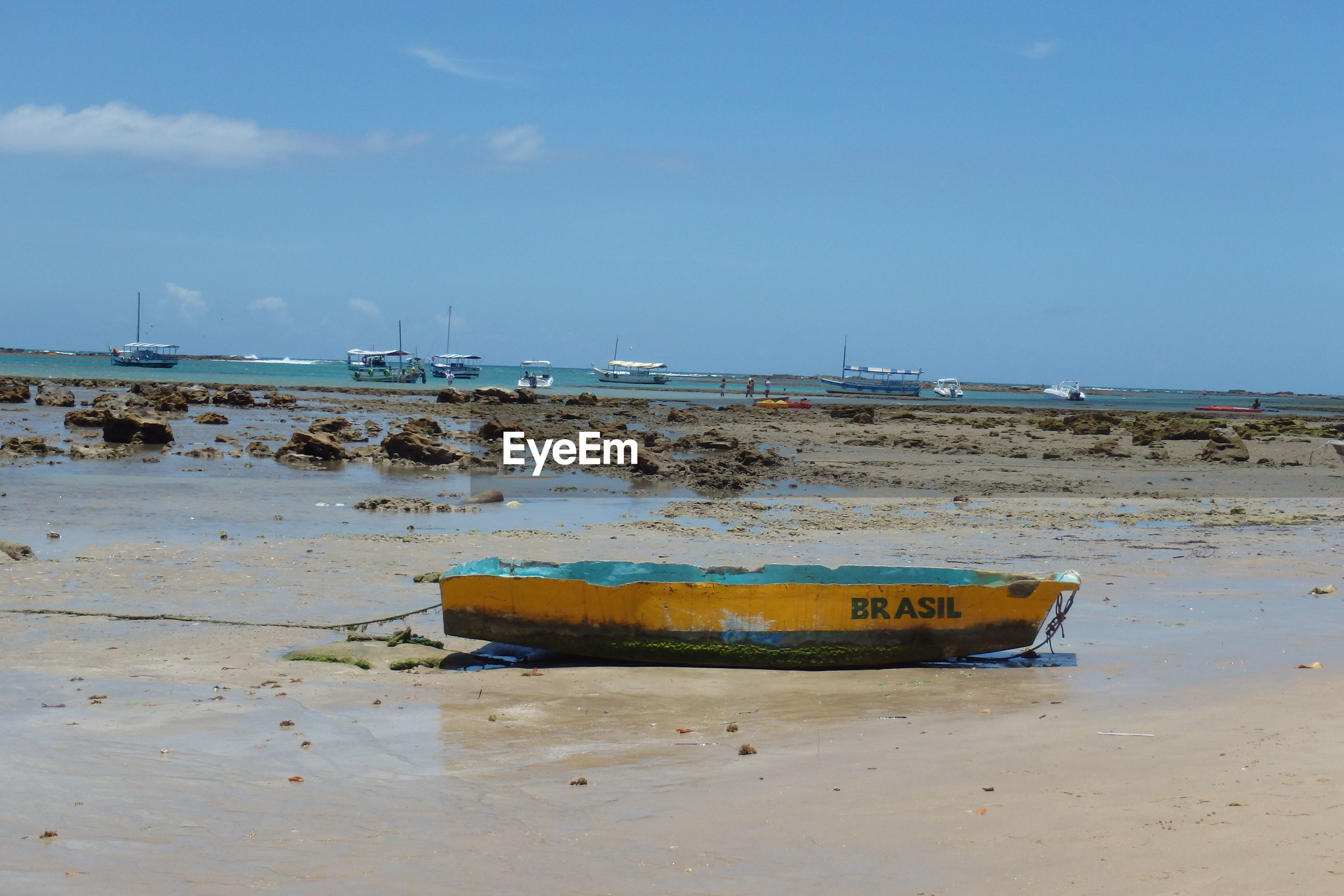 Scenic view boat on beach