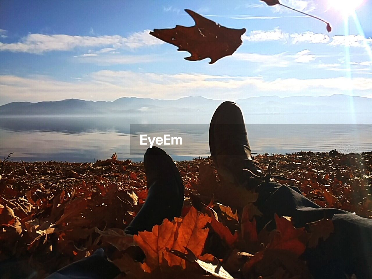 autumn, leaf, nature, change, sky, day, mid-air, scenics, beauty in nature, landscape, outdoors, men, cloud - sky, tranquility, leisure activity, one person, human leg, lifestyles, flying, mountain, real people, low section, close-up, people