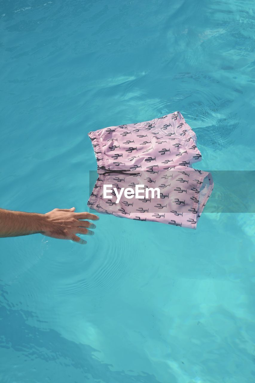 High Angle View Of Swimming Trunks In Pool