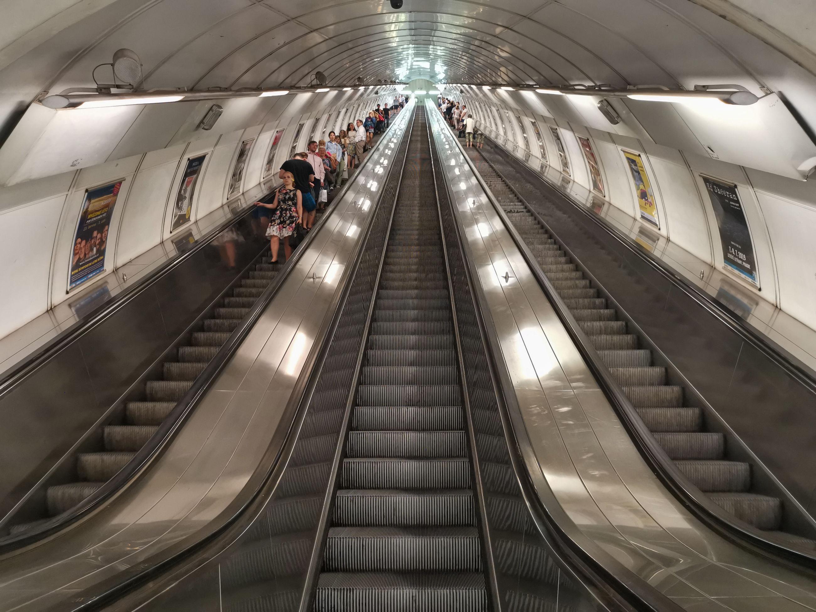 High angle view of escalator at subway station