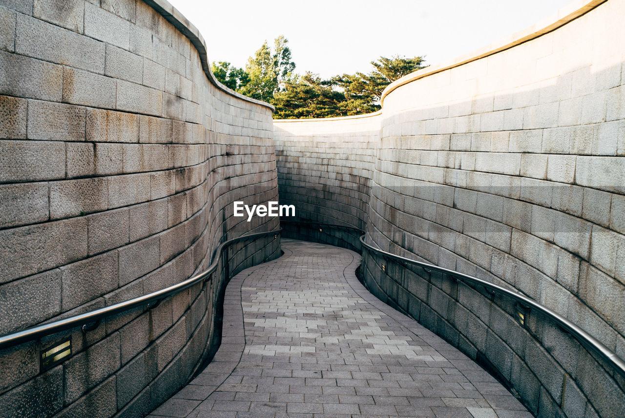 Narrow Pathway Along Walls
