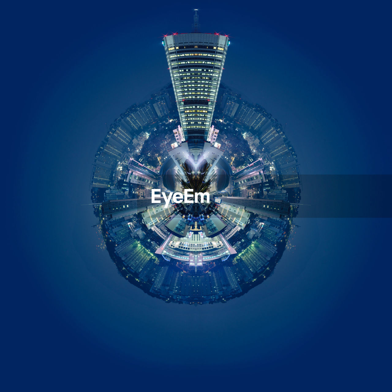 cityscape, fish-eye lens, architecture, city, illuminated, built structure, skyscraper, building exterior, blue, clear sky, no people, night, modern, outdoors, planet earth, residential