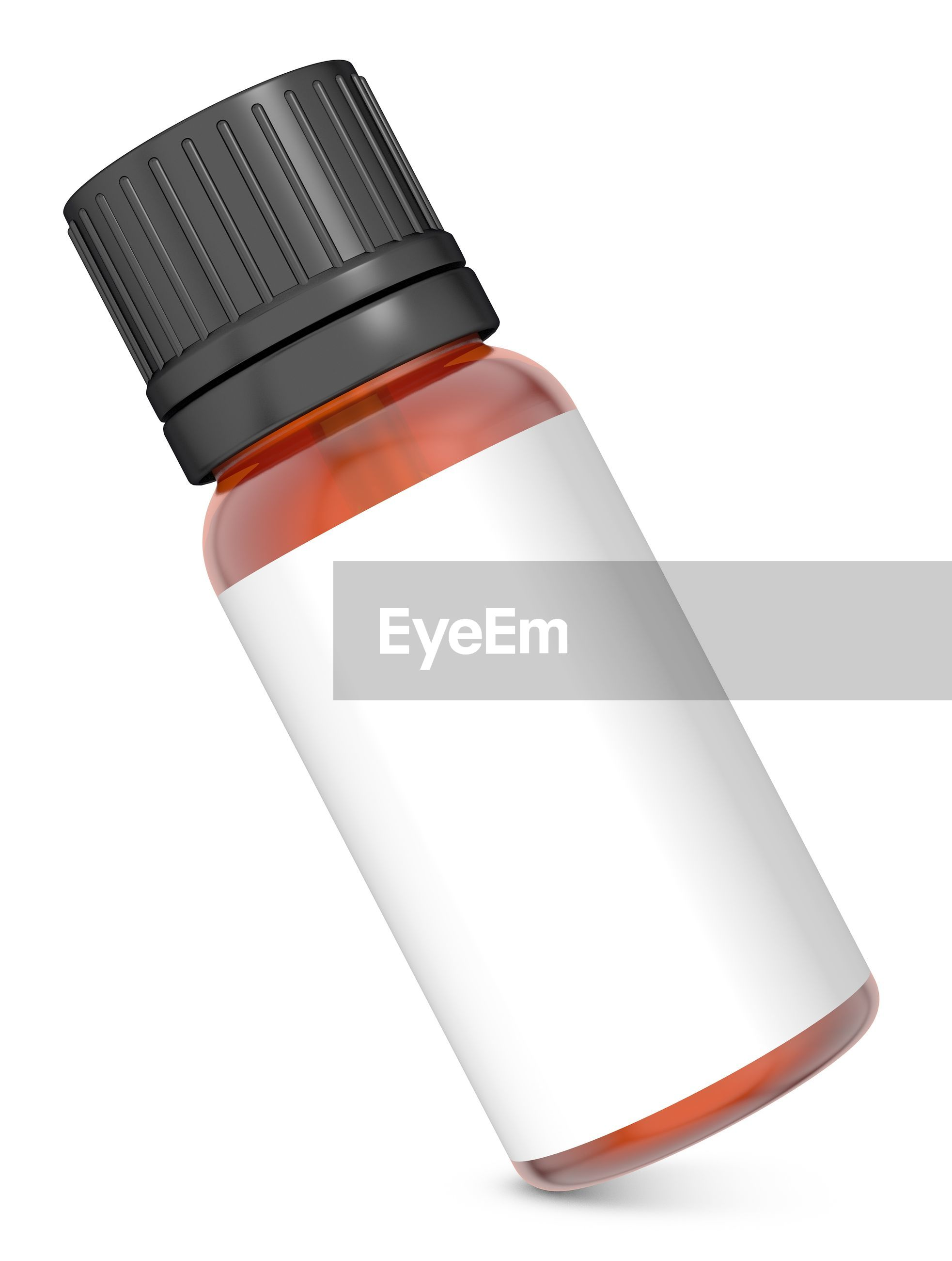 Essential oil in bottle on white background