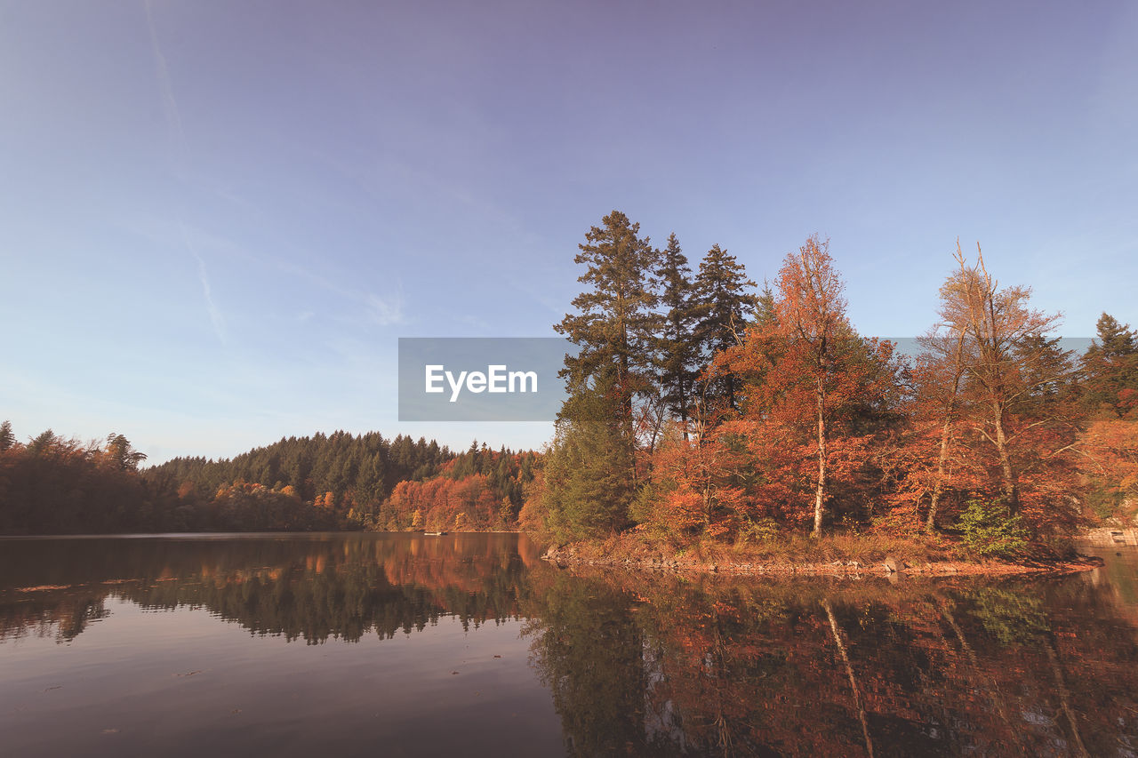 Autumn Trees By Lake Against Sky