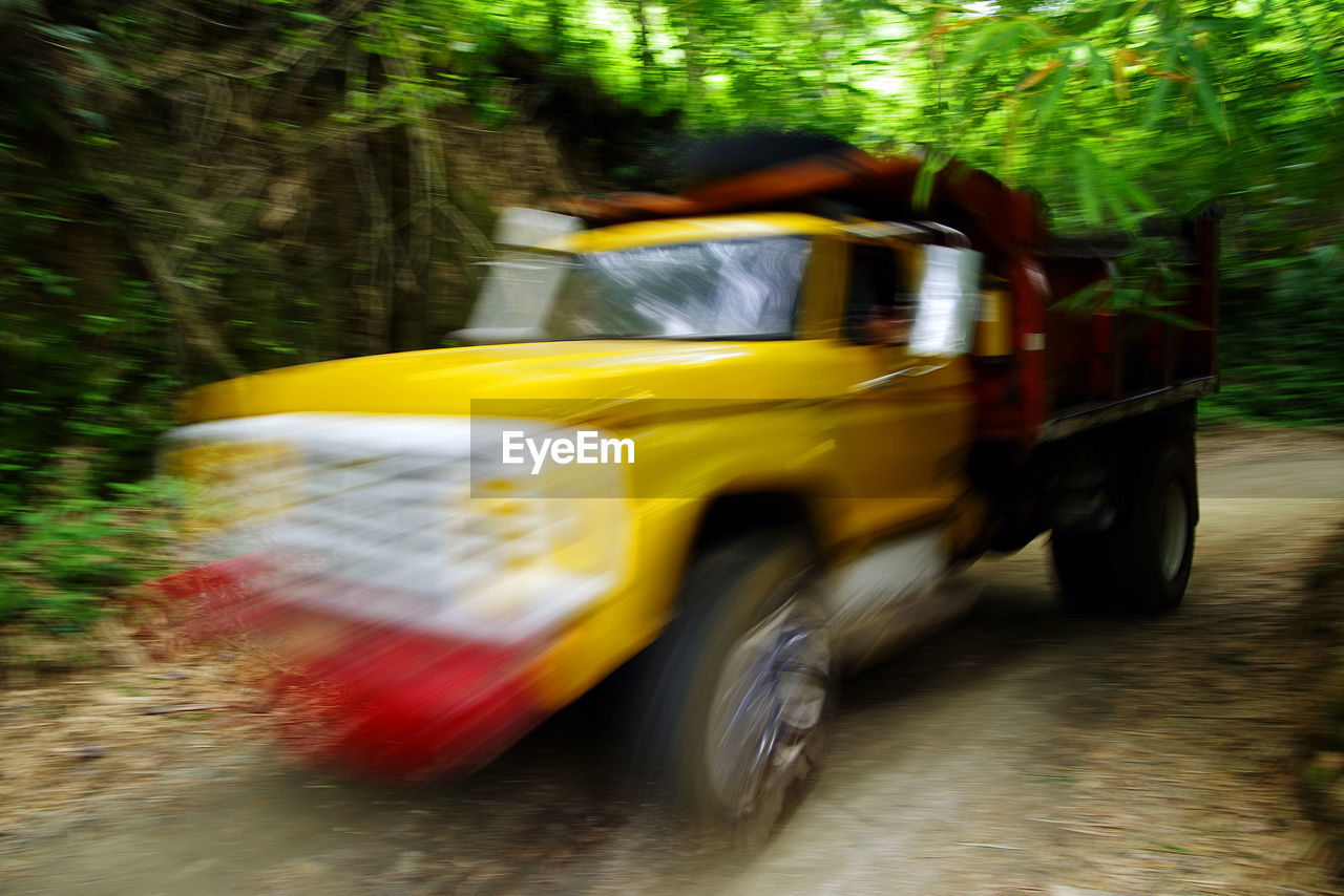 Blurred motion of truck on footpath in forest