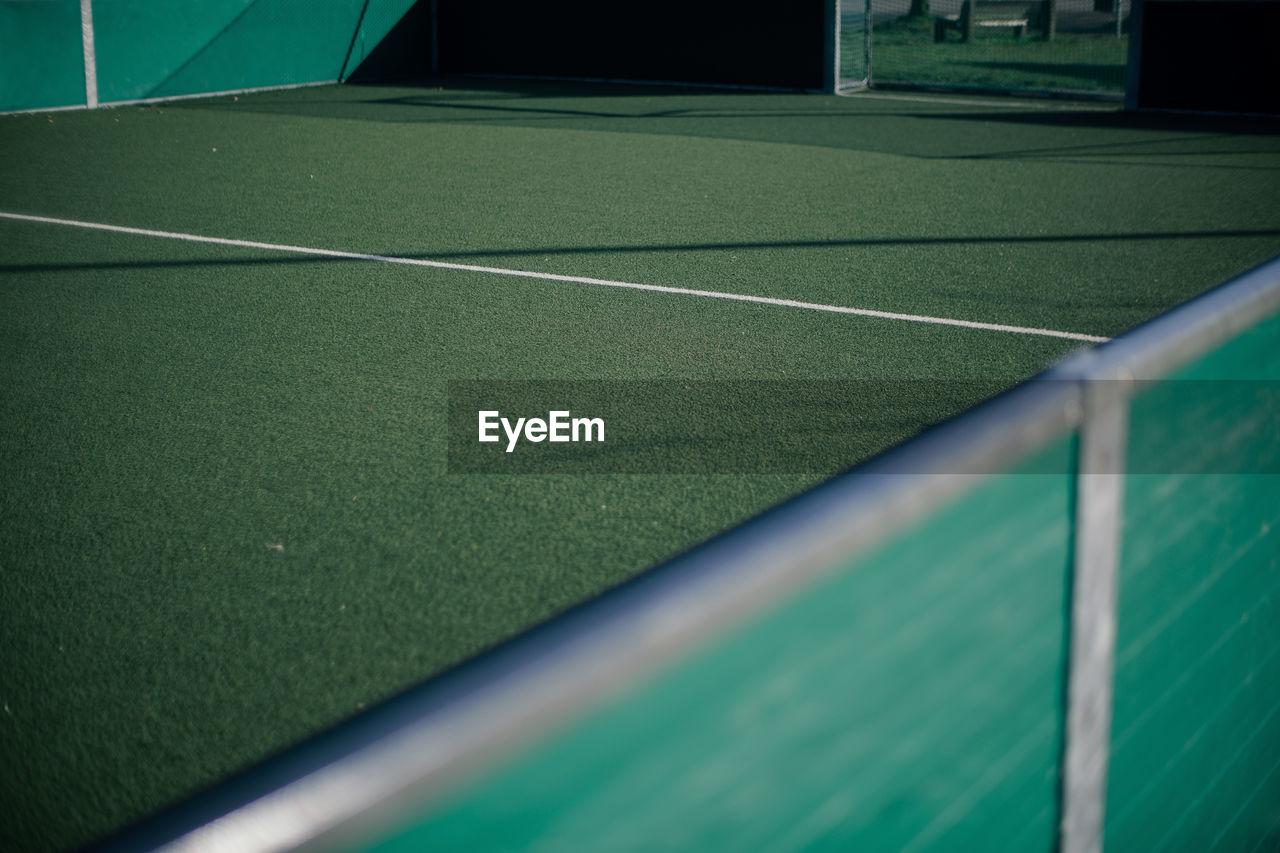 Scenic view of empty soccer field