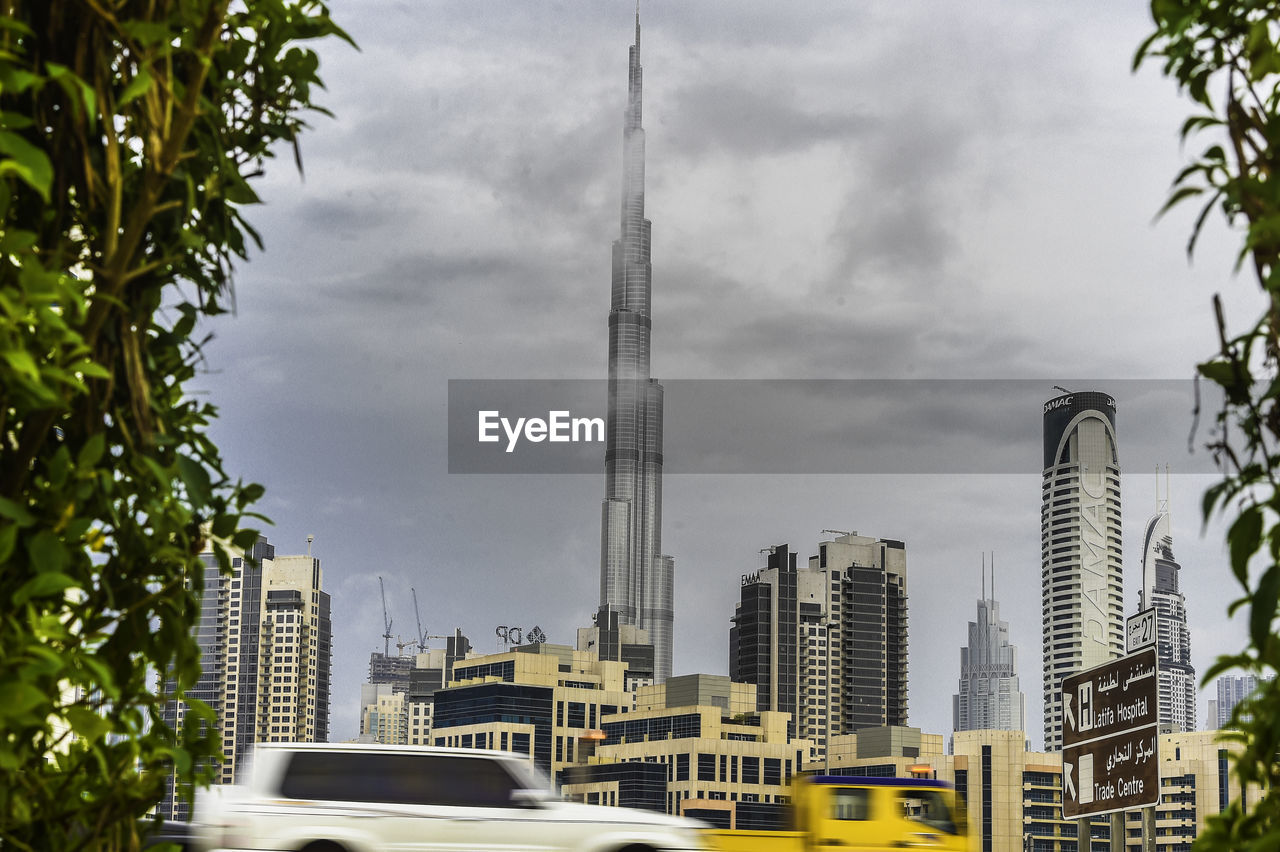 architecture, building exterior, built structure, city, sky, skyscraper, tree, day, no people, growth, outdoors, cloud - sky, cityscape, low angle view, modern