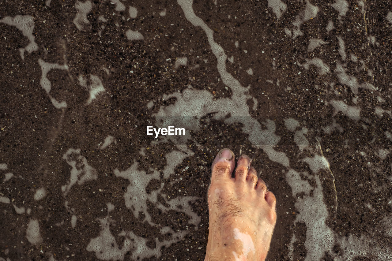 Close-up of barefoot in water