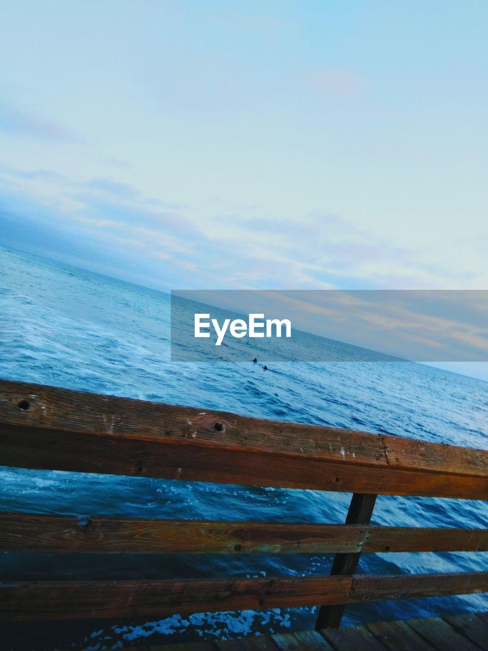 sea, water, horizon, sky, horizon over water, wood - material, beach, land, scenics - nature, beauty in nature, nature, tranquil scene, tranquility, cloud - sky, outdoors, no people, wood, railing, barrier