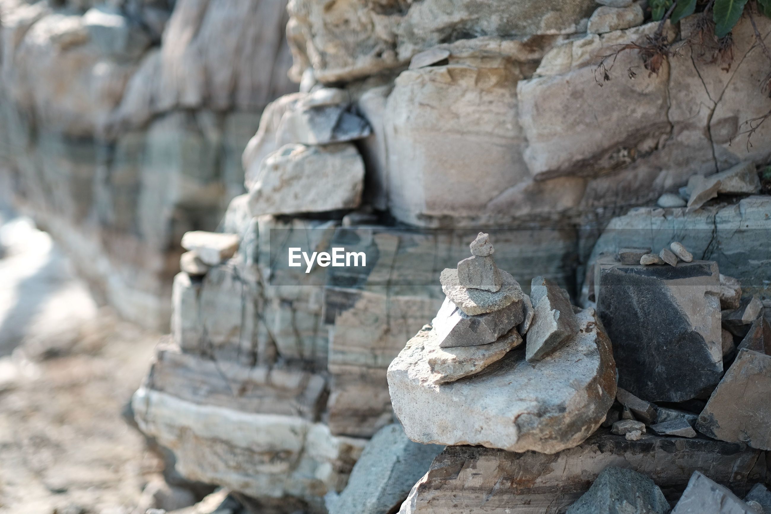 Close-up of stacked rocks