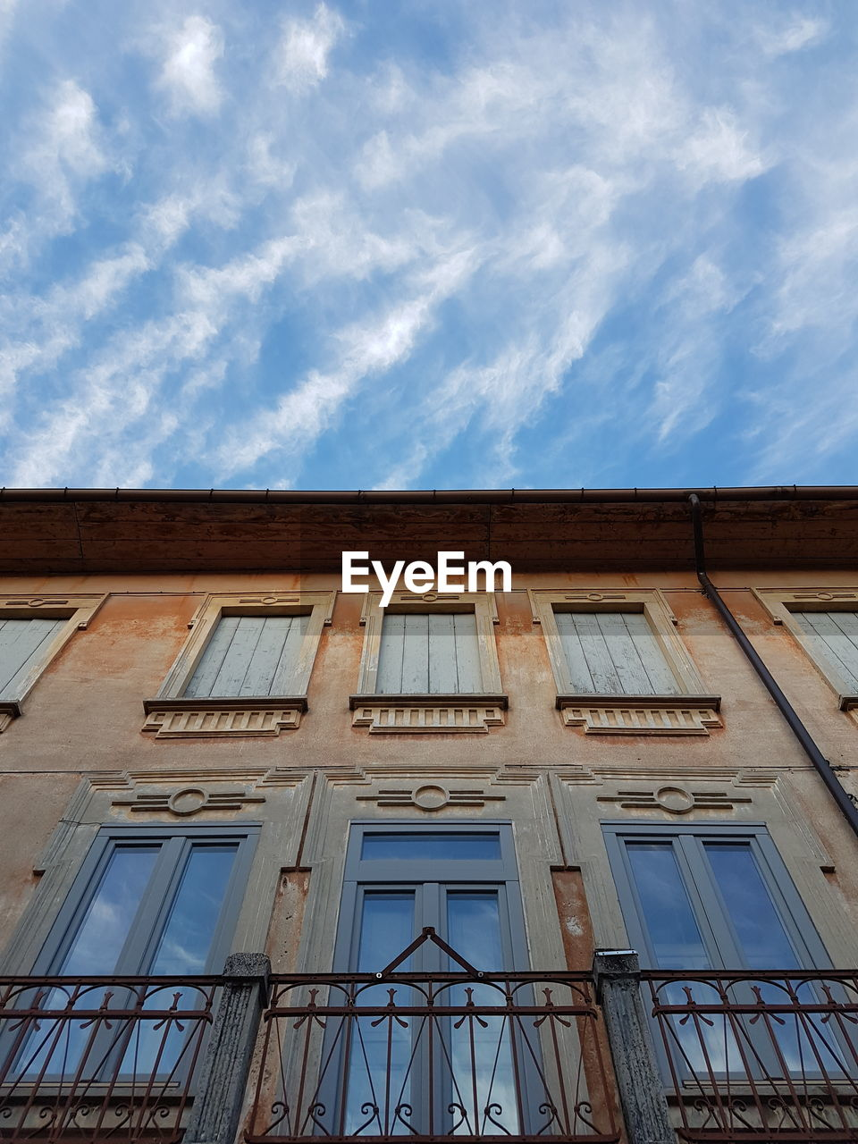 sky, architecture, window, cloud - sky, building exterior, low angle view, no people, day, outdoors
