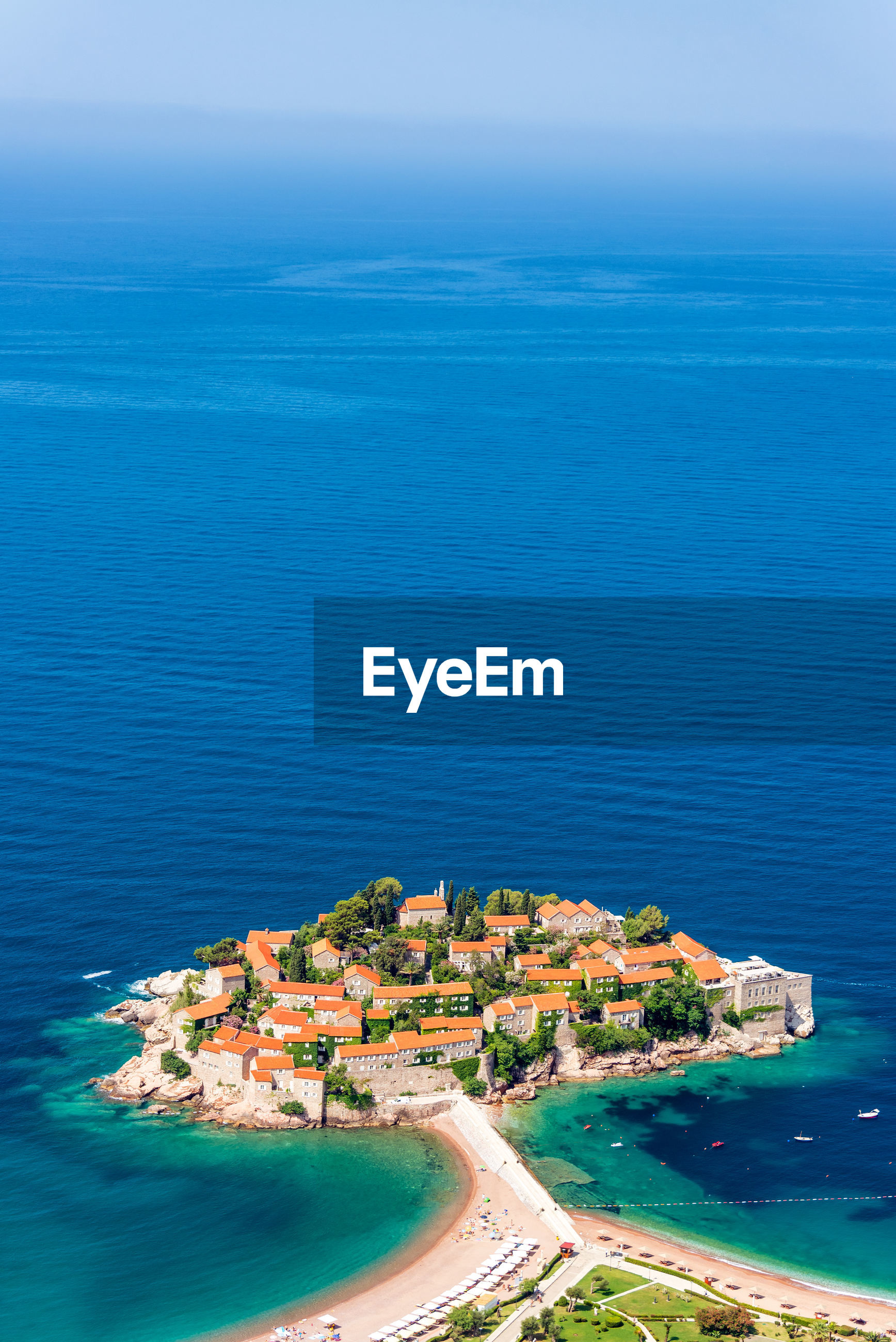 Aerial view of town by sea
