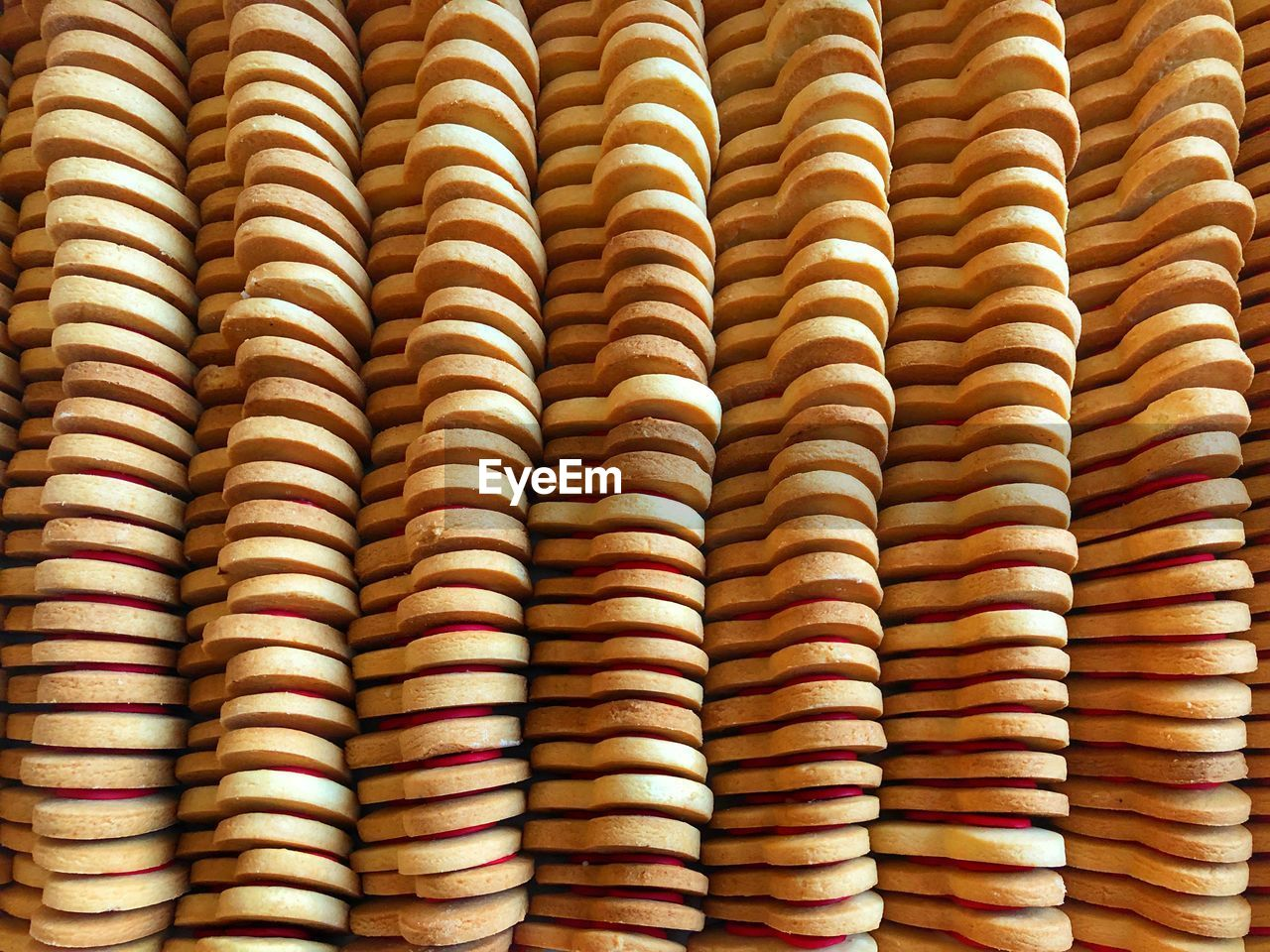 Full frame shot of cookies in a row