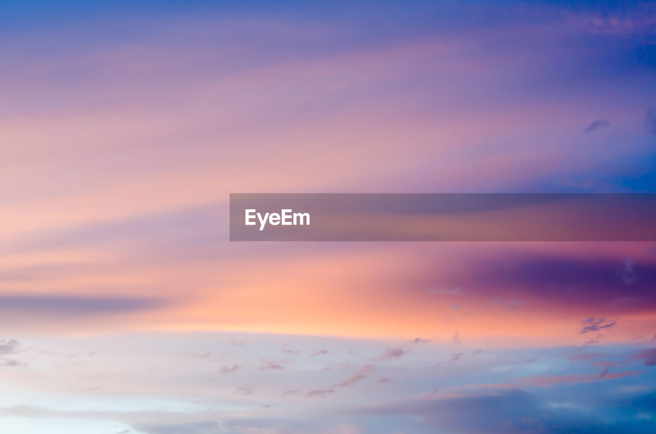 sunset, sky, cloud - sky, beauty in nature, scenics - nature, tranquility, tranquil scene, orange color, no people, idyllic, nature, low angle view, outdoors, backgrounds, dramatic sky, full frame, dusk, environment, cloudscape, romantic sky, meteorology