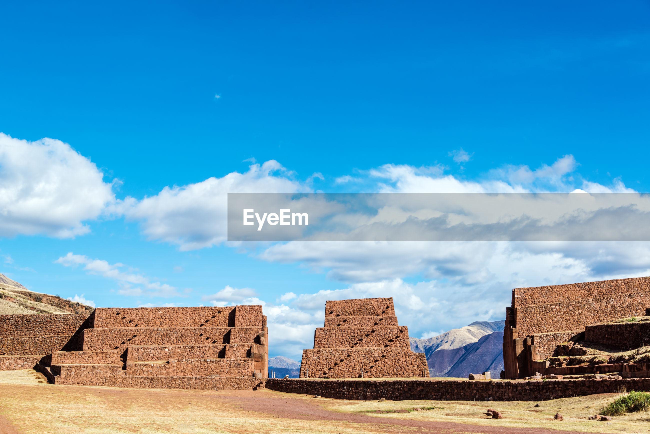 Rumiqullqa ruins against blue sky
