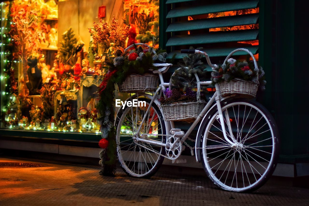 transportation, plant, mode of transportation, flower, architecture, illuminated, flowering plant, land vehicle, night, no people, built structure, bicycle, outdoors, city, decoration, building exterior, focus on foreground, nature, street, wheel