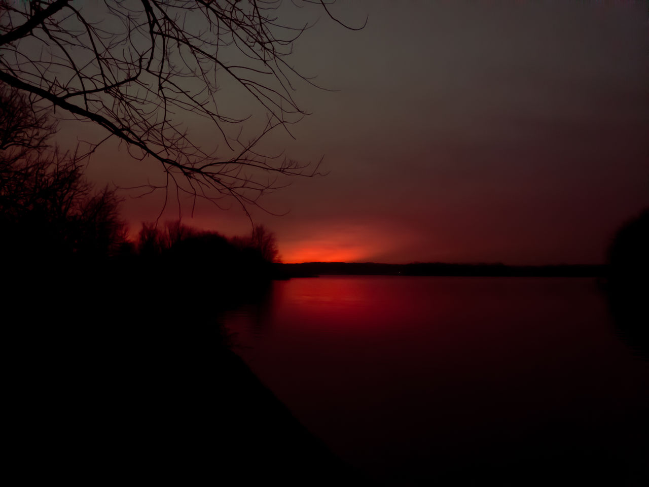 sky, sunset, silhouette, beauty in nature, tranquil scene, tranquility, scenics - nature, orange color, water, idyllic, cloud - sky, nature, tree, no people, reflection, non-urban scene, lake, plant, outdoors, romantic sky