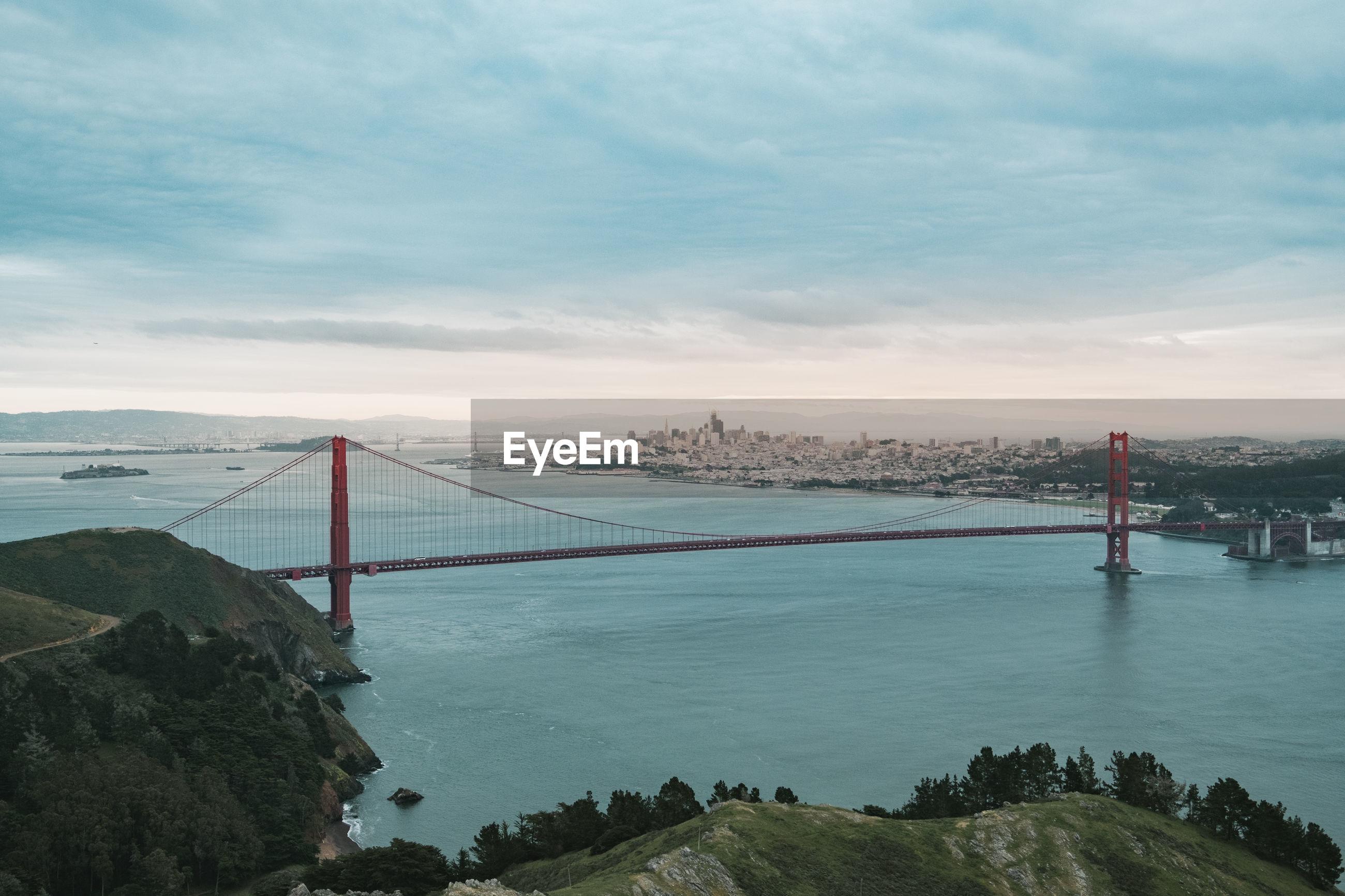 View of suspension bridge over sea