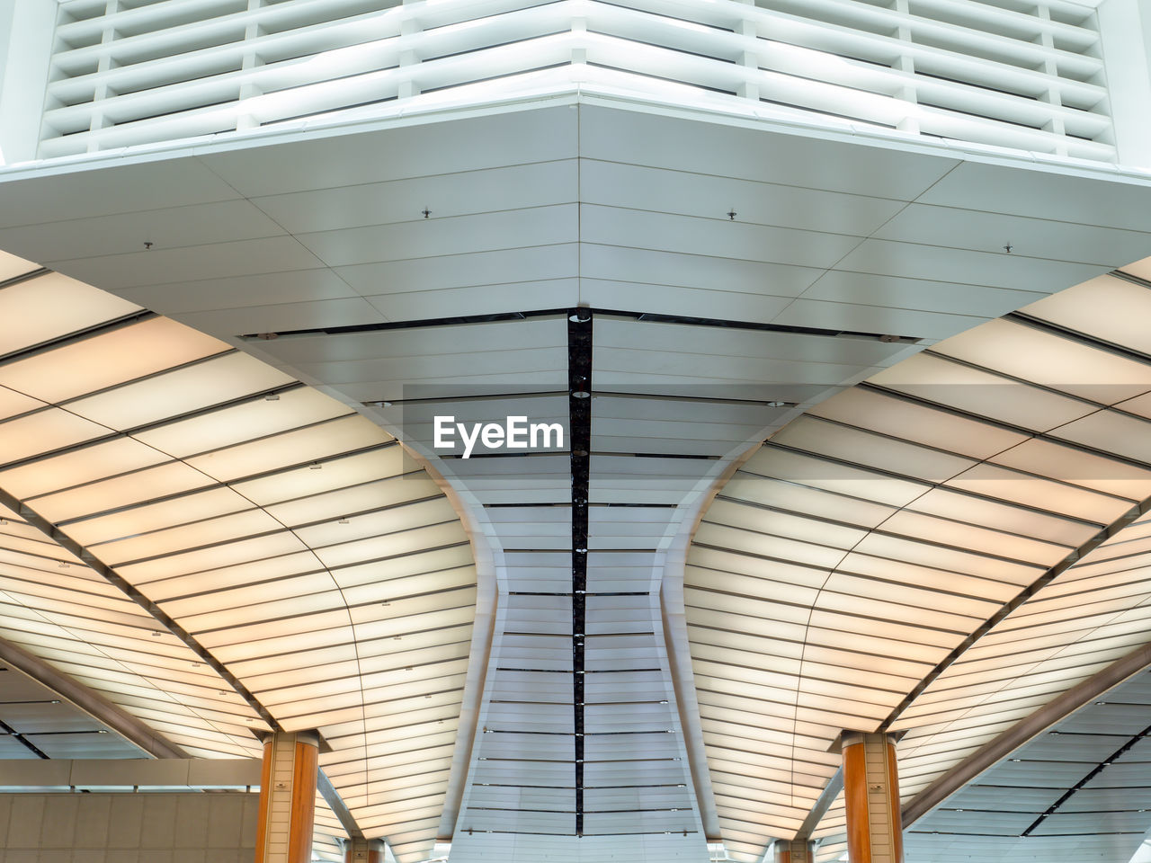 ceiling, architecture, built structure, indoors, no people, low angle view, pattern, day, lighting equipment, design, metal, modern, public transportation, illuminated, roof, architectural feature, close-up, railroad station