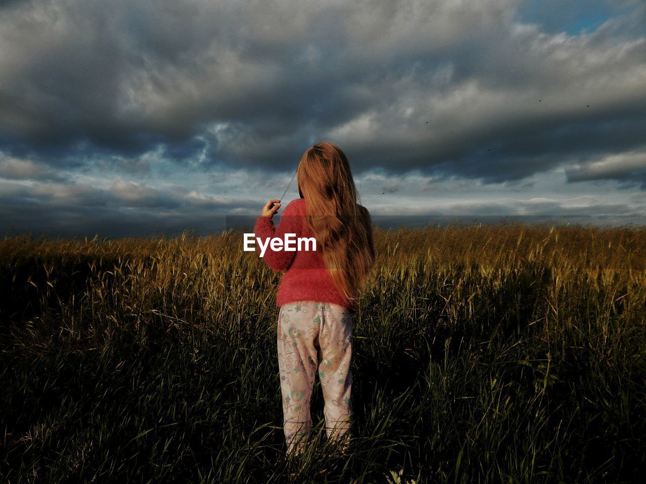 Rear View Of Woman On Agricultural Field Against Cloudy Sky