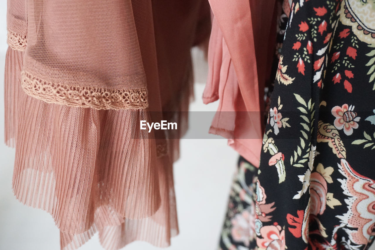 Close-up of dresses