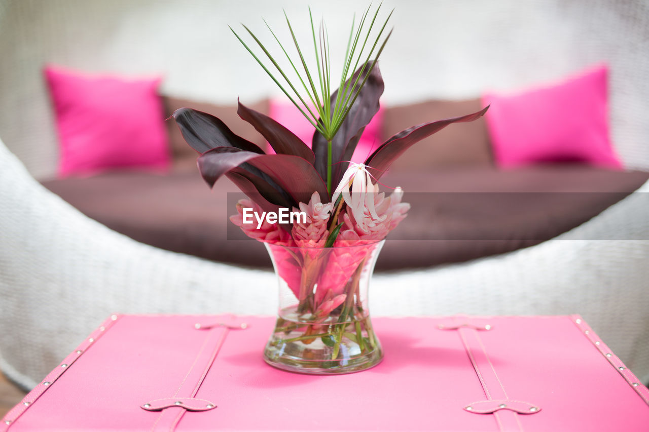 Flower Vase On Coffee Table By Couch