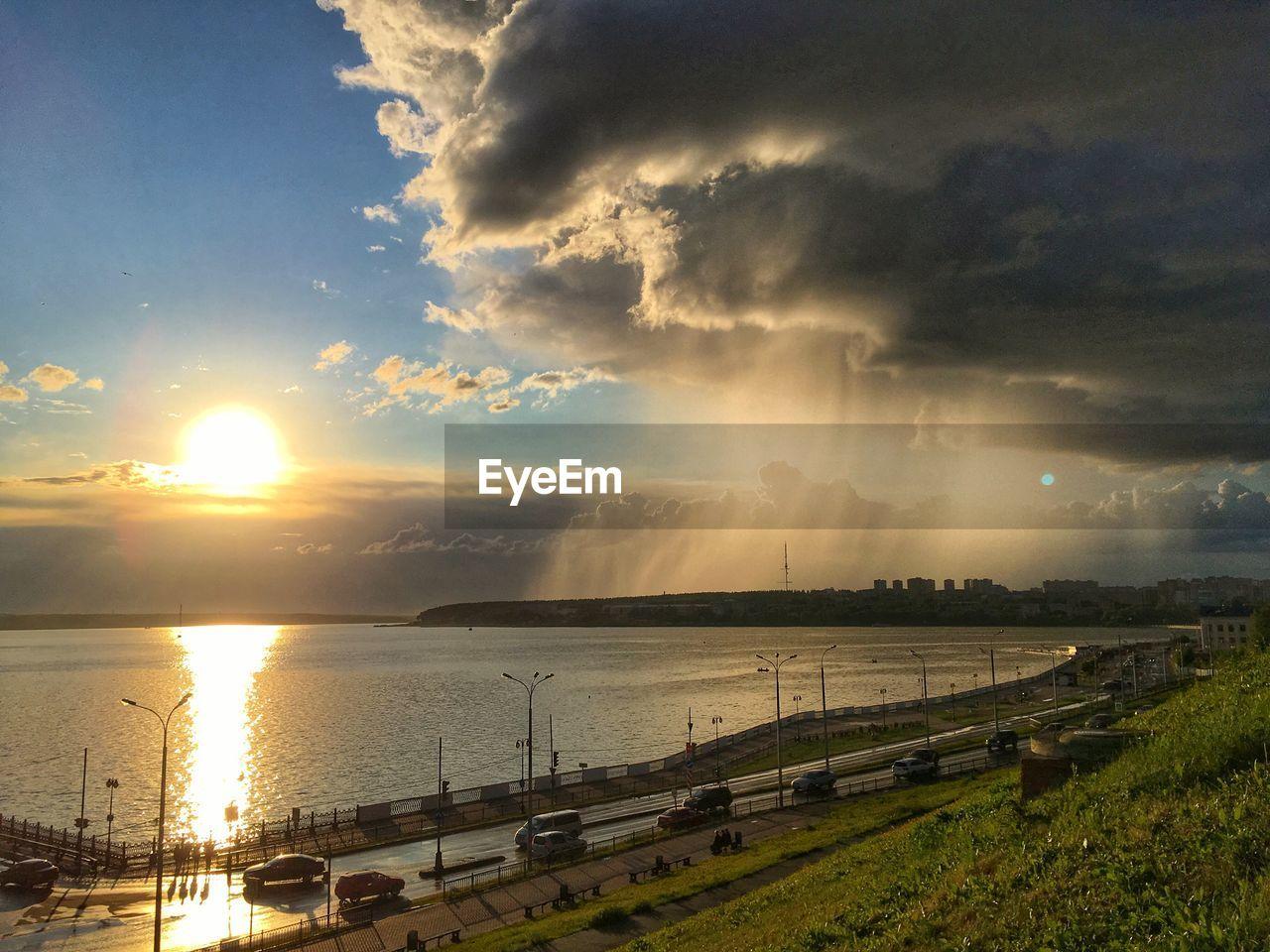 PANORAMIC SHOT OF SEA AGAINST SUNSET SKY