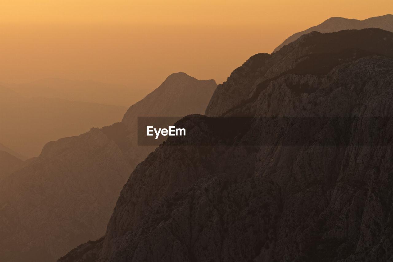 Sunset on biokovo mountain, croatia