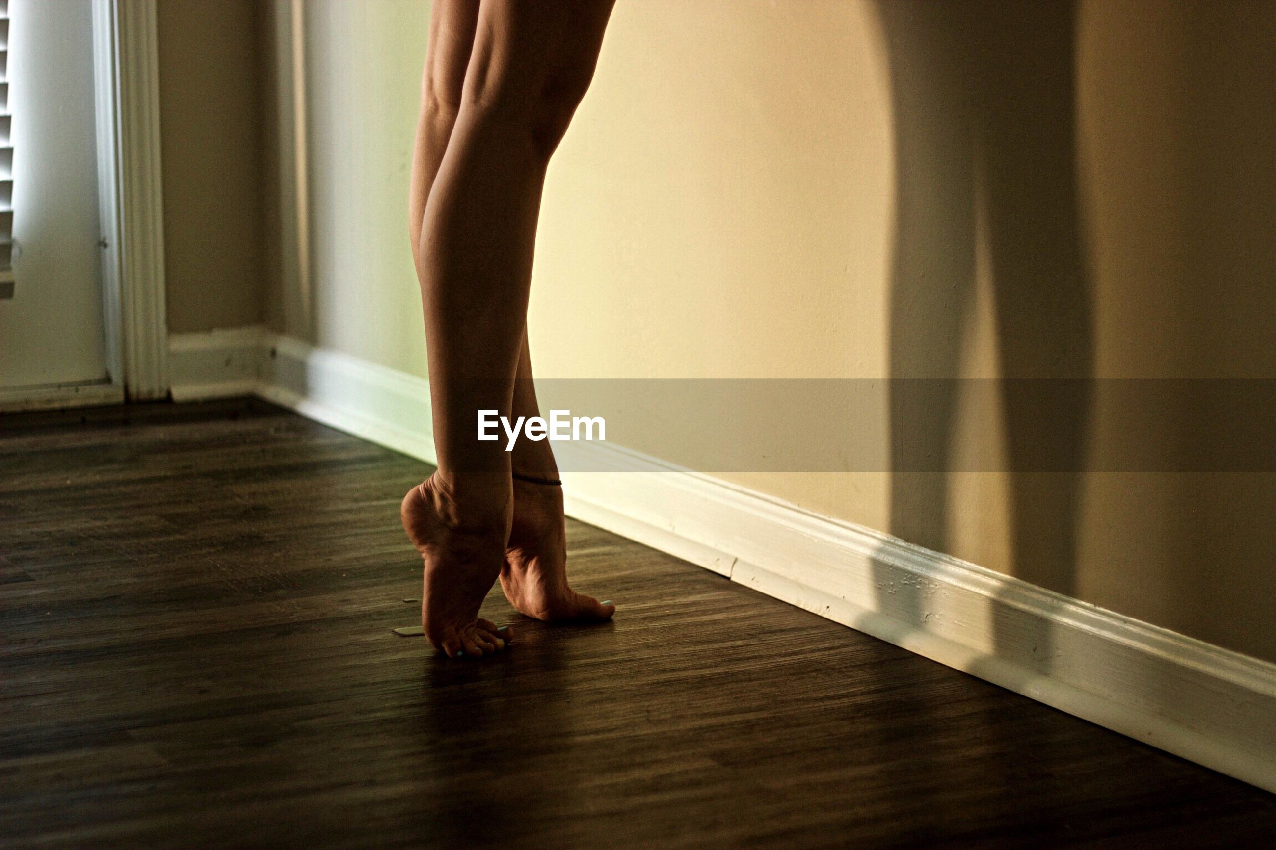 Low section of female ballerina tiptoeing
