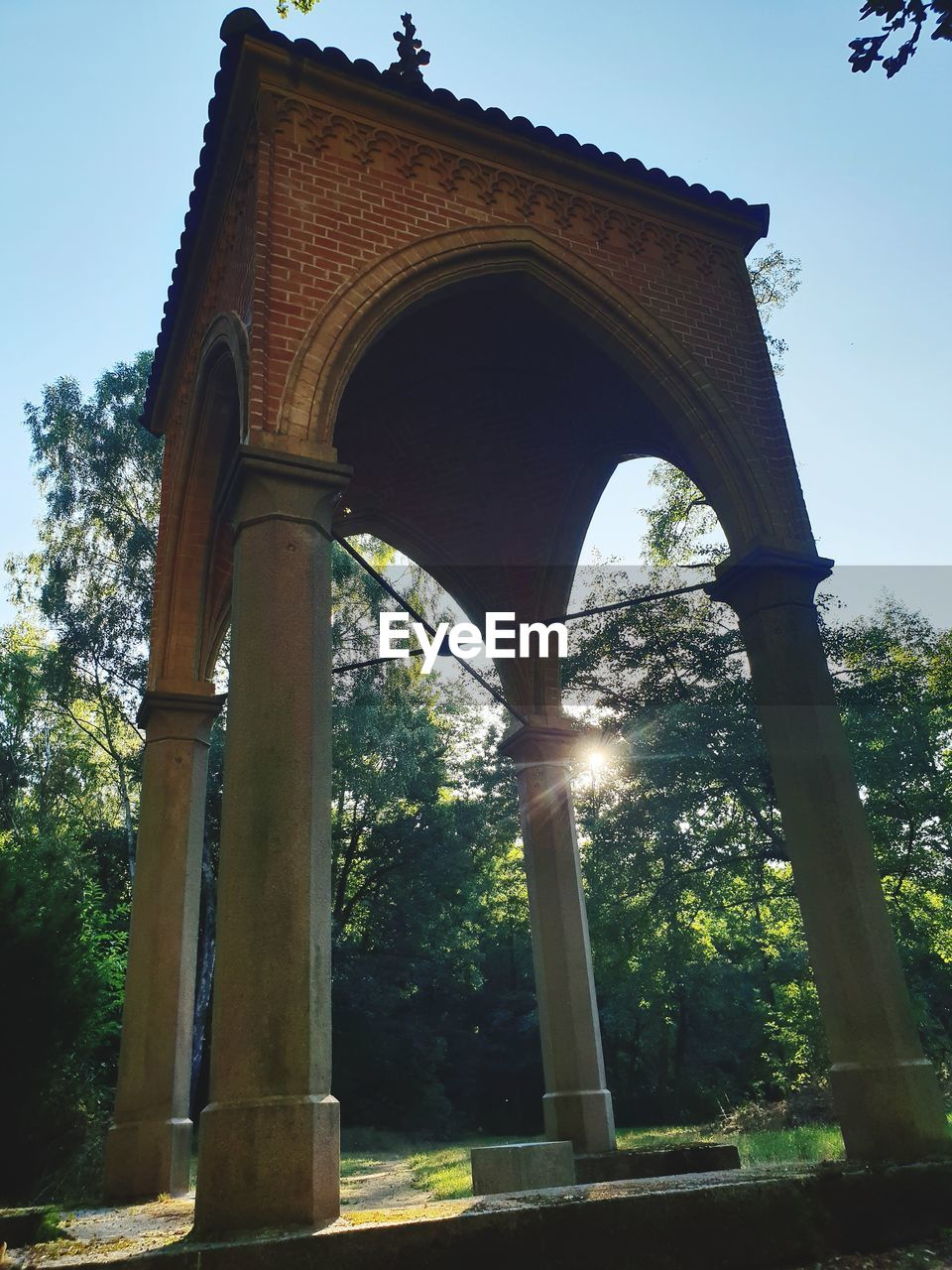 architecture, built structure, tree, plant, arch, nature, low angle view, no people, day, history, the past, sky, architectural column, outdoors, travel destinations, bridge, growth, sunlight, clear sky, travel