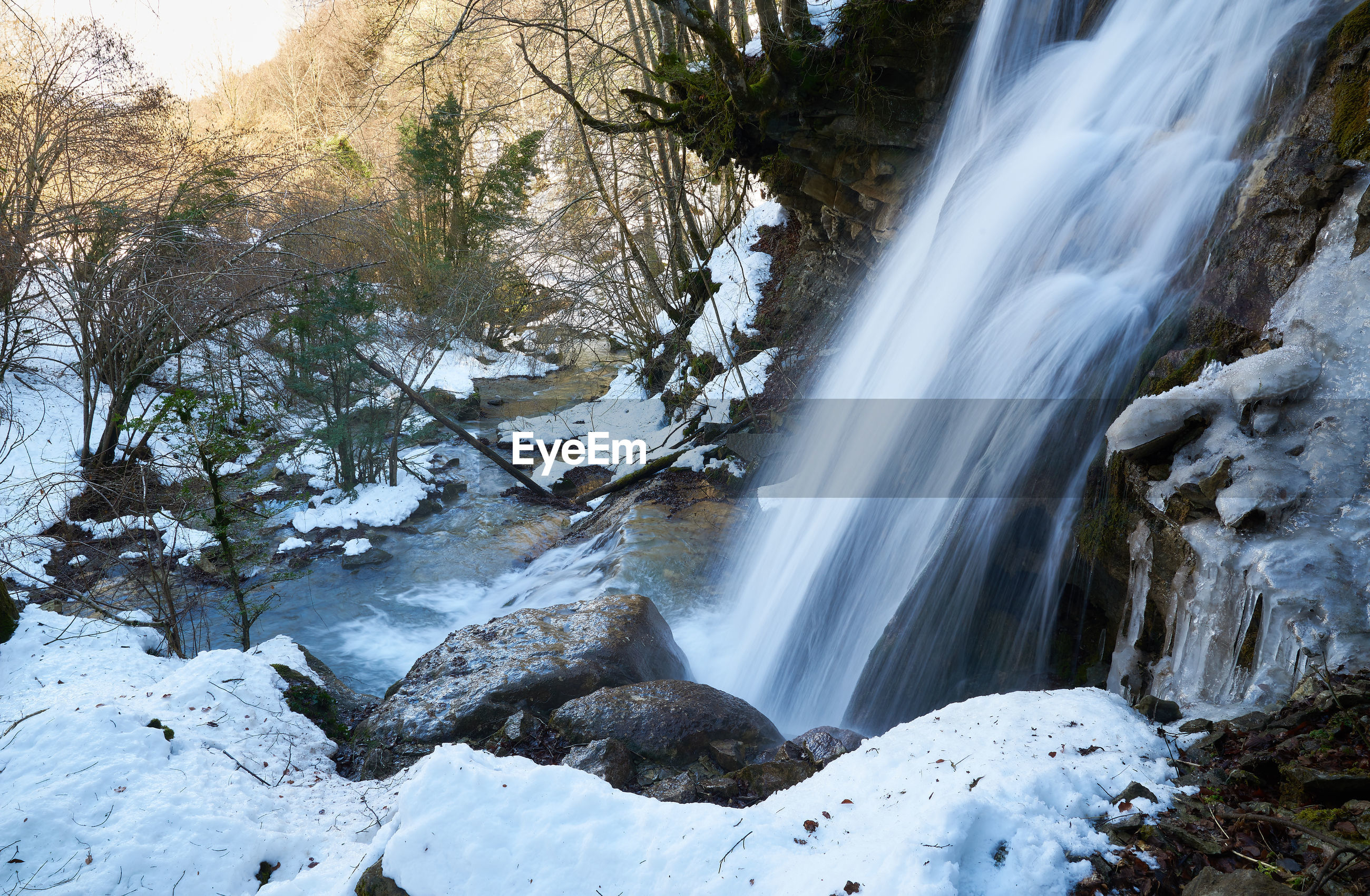 Snowy waterfall side view