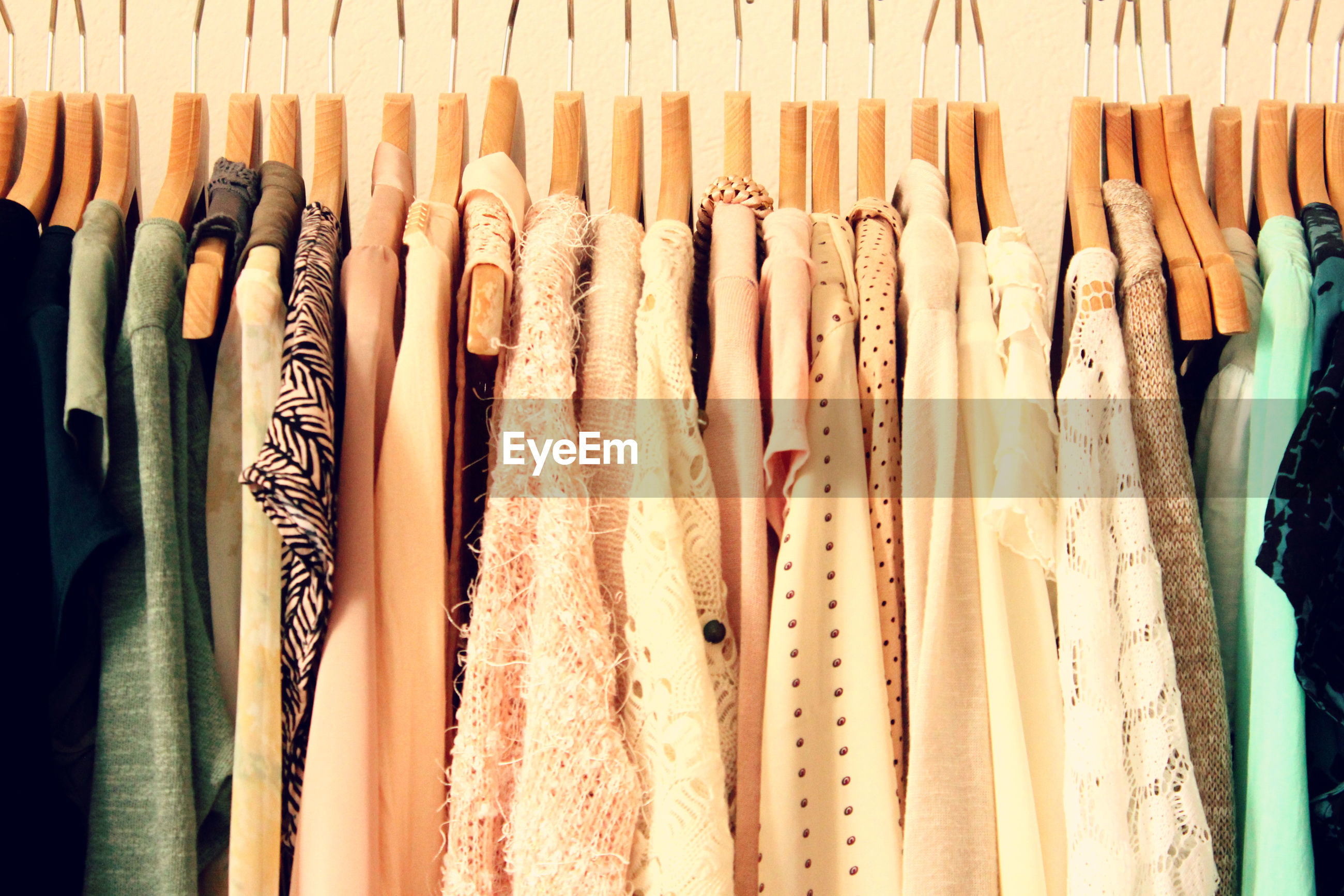 Detail shot of clothes on hangers