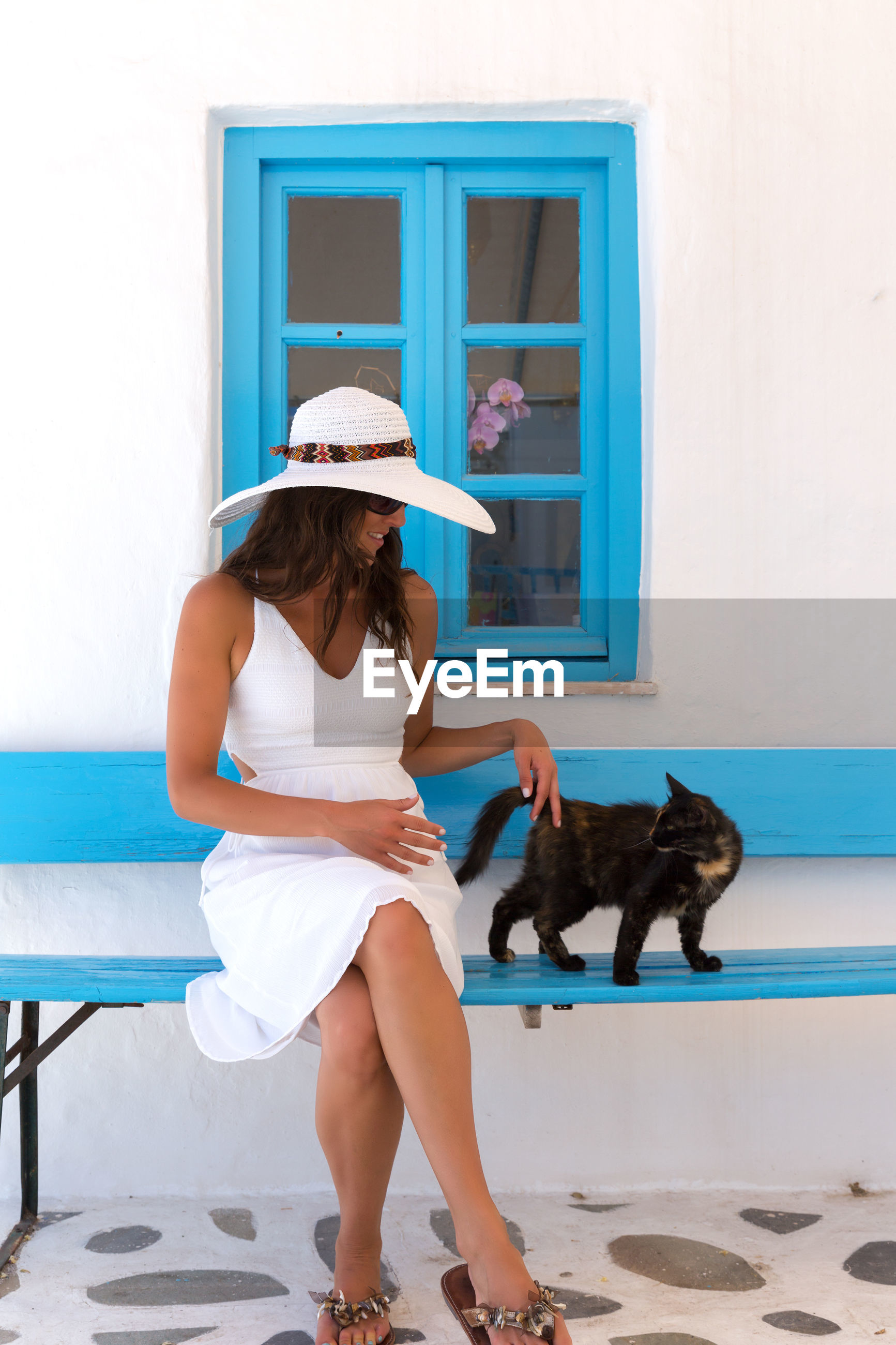 Woman wearing white dress playing with cat while sitting on bench against wall
