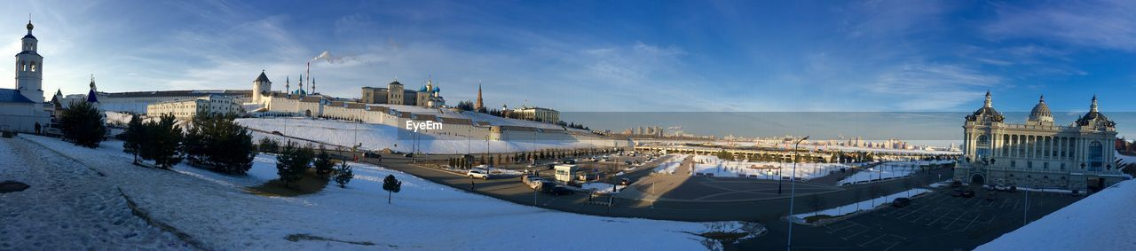 Panoramic View Of City Against Sky During Winter