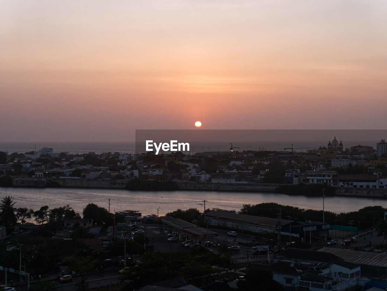 Sunset from the fortress in cartagena de indias