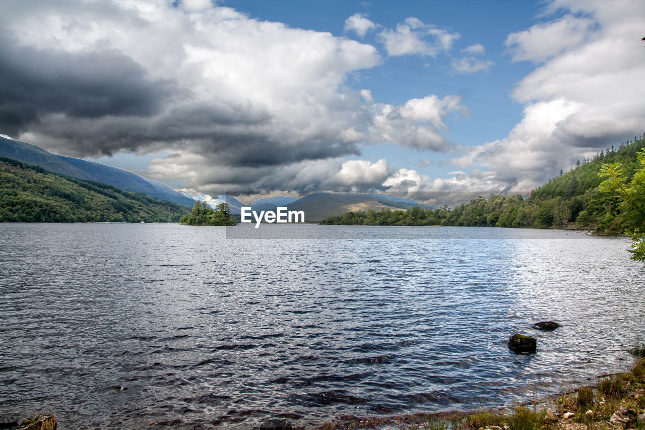 water, lake, cloud - sky, scenics, nature, sky, beauty in nature, mountain, tranquility, day, tranquil scene, no people, outdoors, tree, animal themes, bird, swan