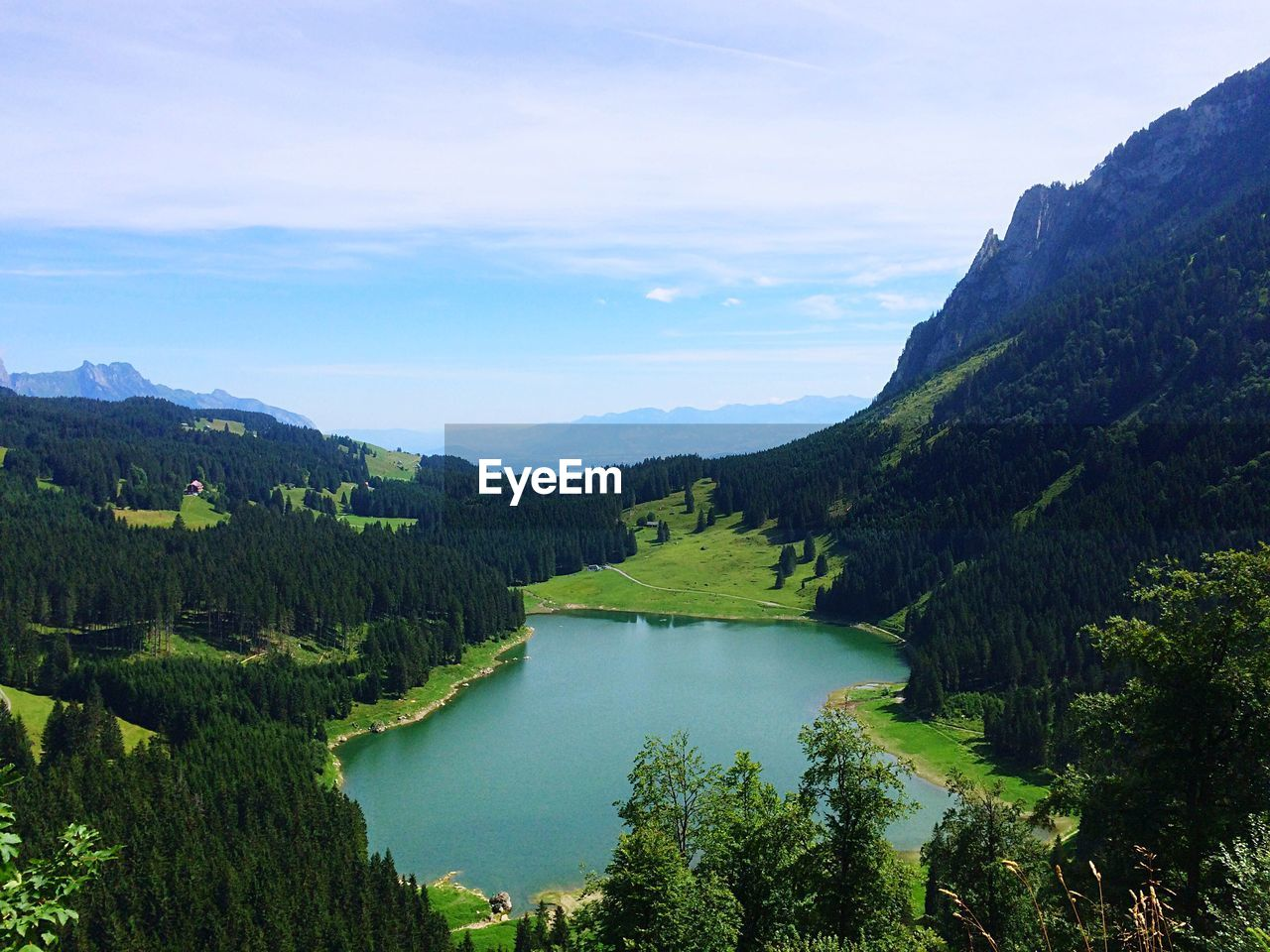 scenics - nature, tranquil scene, tranquility, beauty in nature, tree, water, sky, mountain, plant, non-urban scene, green color, idyllic, lake, cloud - sky, nature, environment, landscape, day, no people, mountain range, outdoors