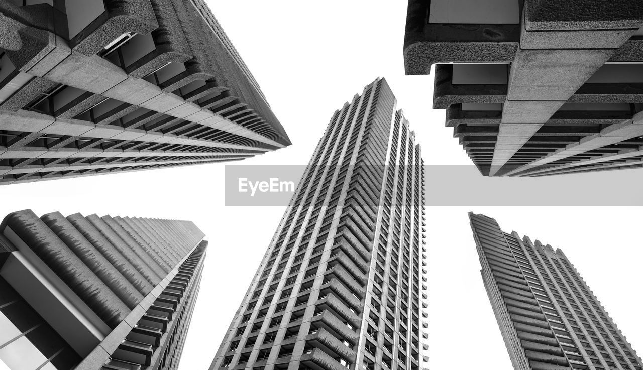 building exterior, architecture, built structure, low angle view, office building exterior, city, office, tall - high, skyscraper, building, modern, sky, no people, tower, clear sky, nature, day, financial district, directly below, outdoors