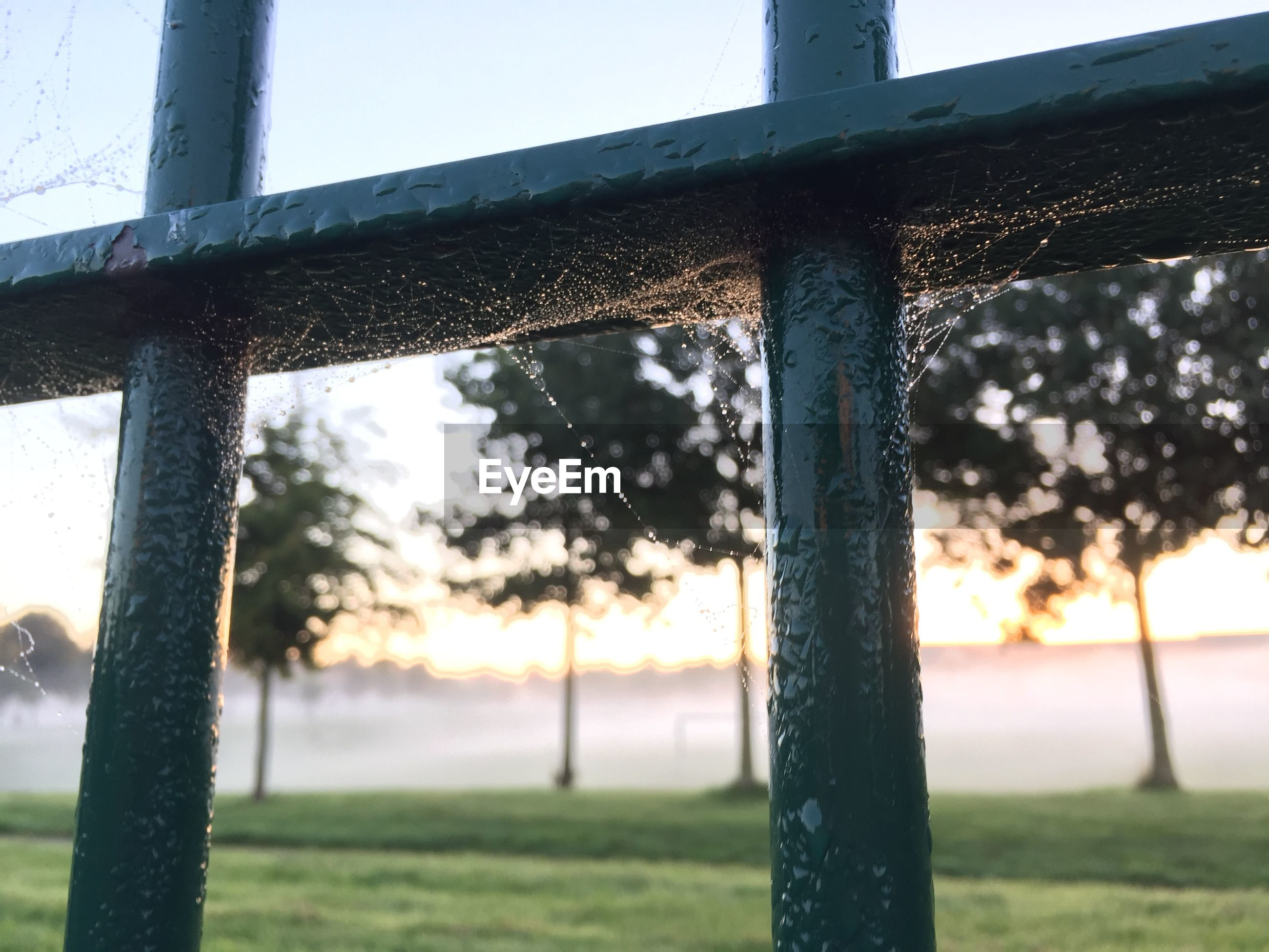 focus on foreground, metal, fence, close-up, railing, safety, protection, metallic, pole, day, wood - material, outdoors, sunlight, no people, security, nature, selective focus, sky, tree, water