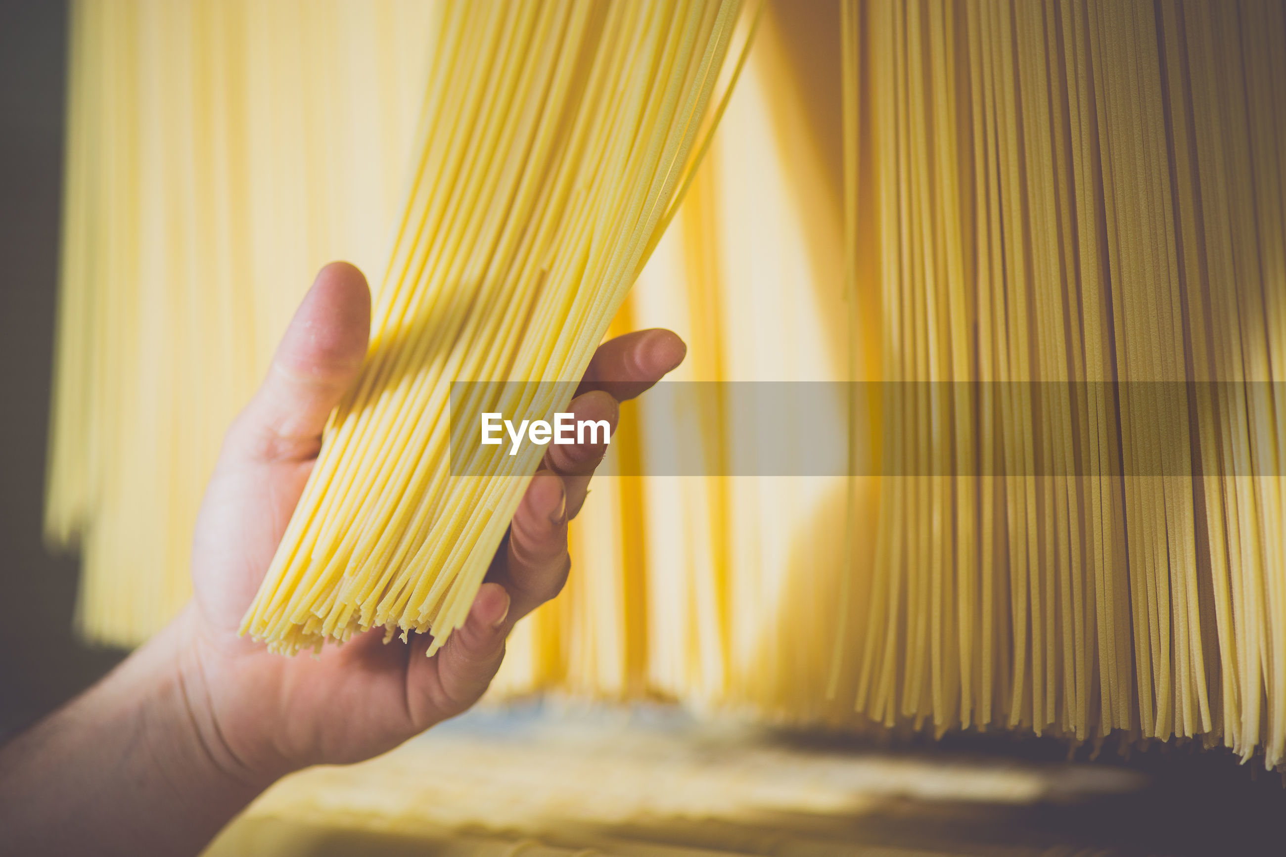 Cropped image of hand holding raw spaghetti