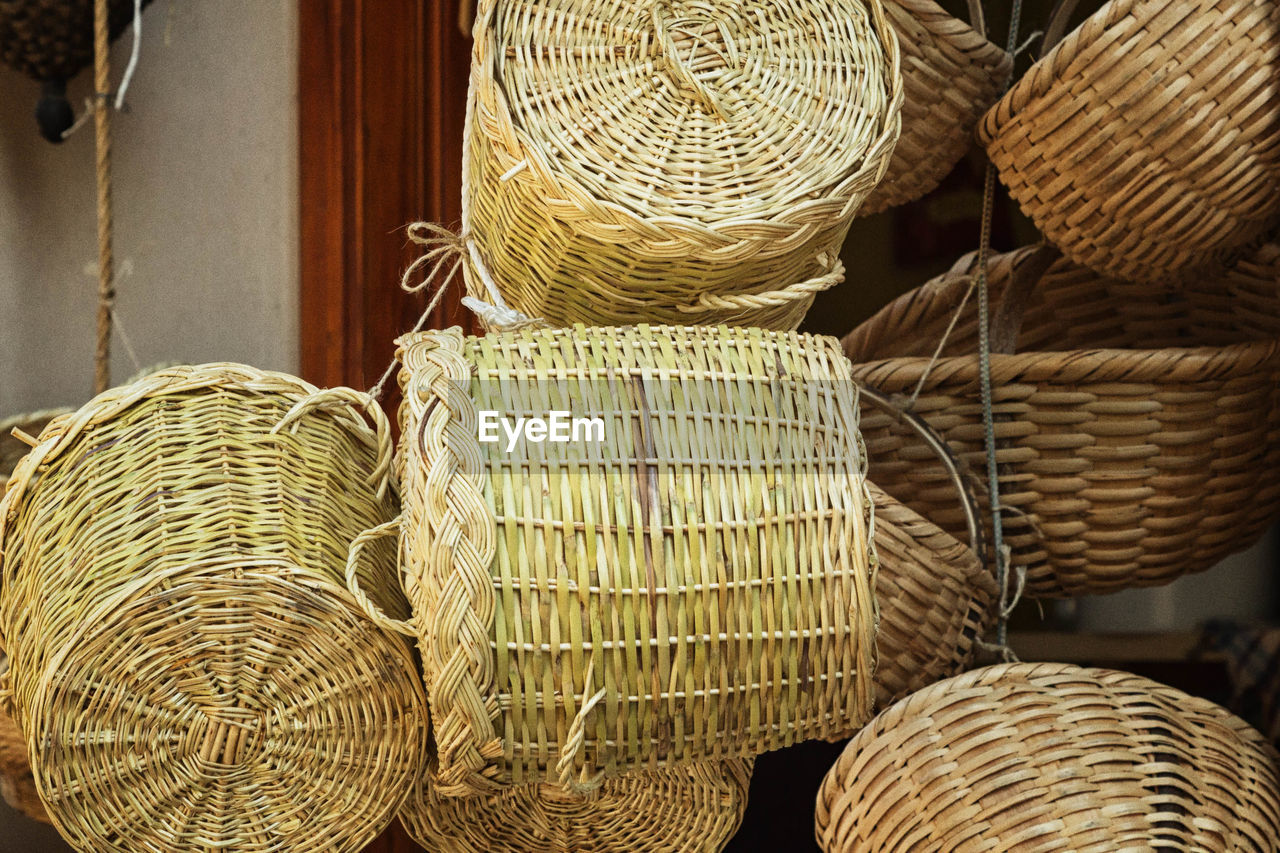 Close-Up Of Baskets Hanging