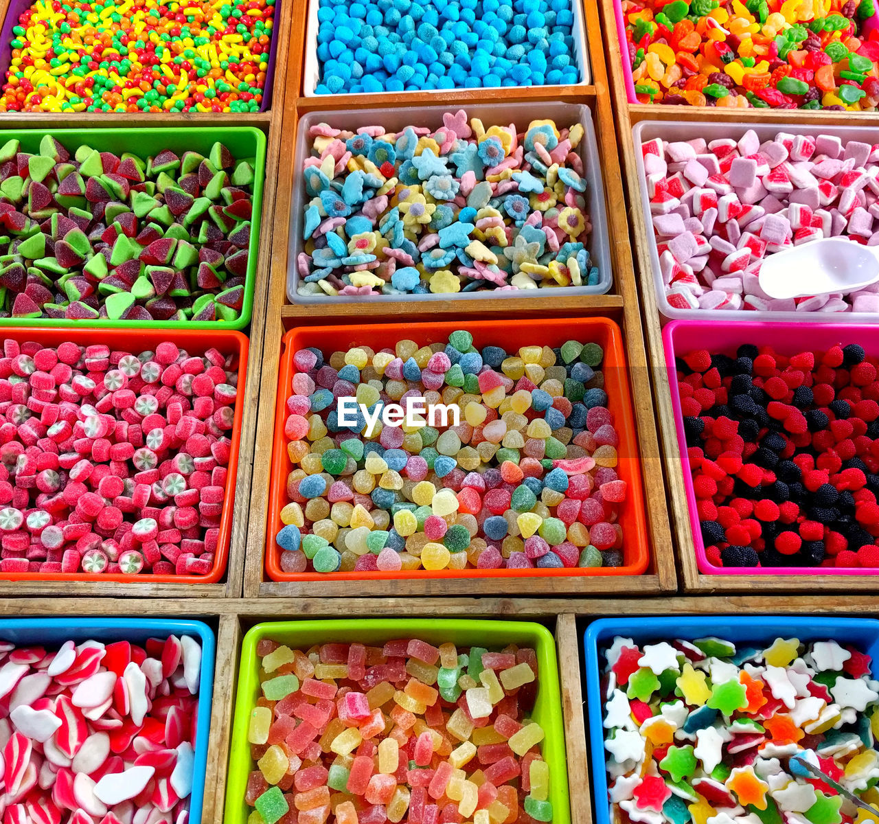 High Angle View Of Colorful Candies At Store